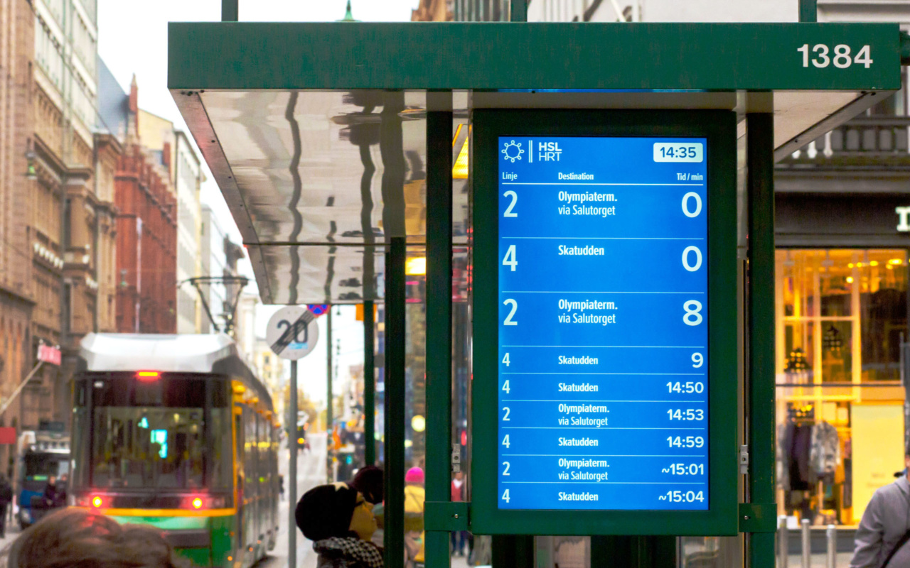 Finland Bus Stop digital timetable